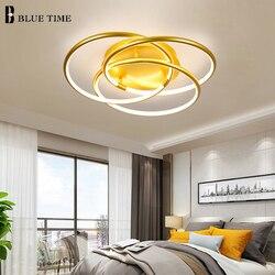 Nowoczesne lampy sufitowe Led do salonu sypialnia gabinet lampy sufitowe złoty kolor lampy sufitowe do salonu