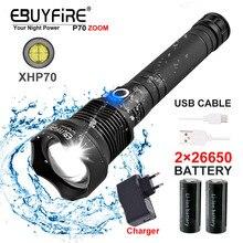 Telescopic Zoom XHP70 LED Flashlight Strong light waterproof