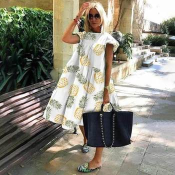 Summer Style Women Round Neck Flying Sleeve Large Dress Casual Leaf White Pineapple Print Beach Dress kids pineapple print tie dress
