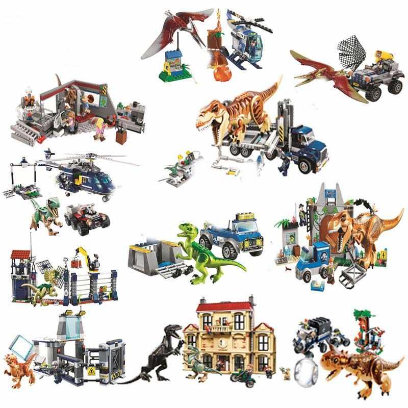 Jurassic Dinosauro Set Con 10925 10926 10928 Blocchi di Costruzione di Modello Del Mondo Mattoni Compatibile con il Blocco del Regalo Del Giocattolo Per I Bambini