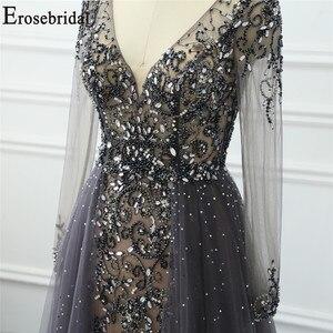 Image 5 - Robe de soirée à manches longues grise, ligne A, robe de soirée pour femmes, élégante, robe longue, de standing, robes de bal, perles exquises, 2020