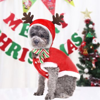 Pet Christmas Day Dress Up Clothes for Dogs Fall Winter Flannel Elk Dress Up Small and Medium-sized Dogs Cat Pet Clothes image