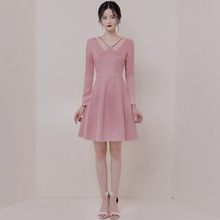 New Arrival Brief Suede Pink Dress for Ladies Corset Long Sleeve Casual Elegant Women Sexy Bodycon Plus Size