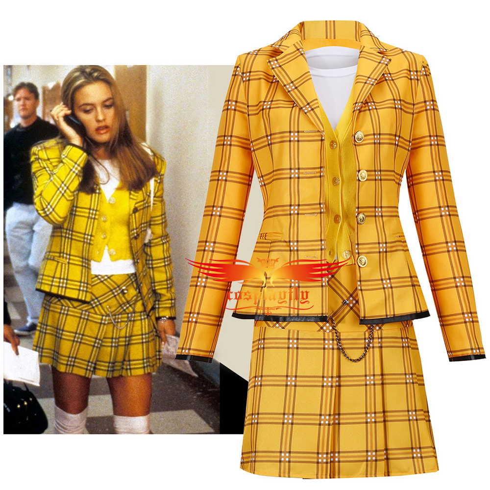 Anime Clueless Culturenik Cosplay Costume Outfits for Adult Women Girl Yellow Plaid Suit Jacket Shirt Skirt Halloween Carnival