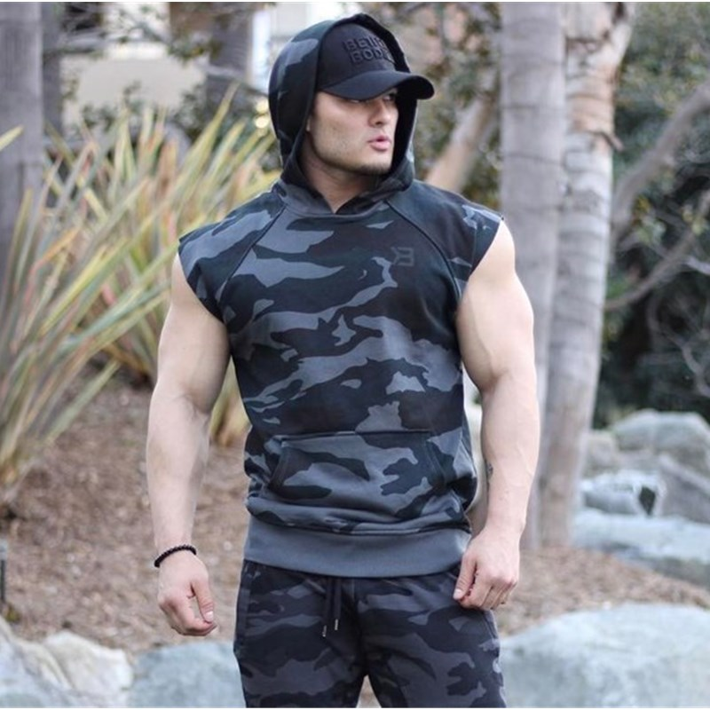Fitness Sleeveless Hooded Vest Men Hooded Vest Gym Bodybuilding Work Out Tank Top Hoodies For Men Casual Camouflage Pocket Top