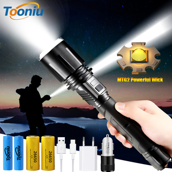 Powerful LED Flashlight MTG2 Lamp Bead Tactical Torch Super Bright USB Rechargeable Stepless Dimming Hunting Lamp Zoom Lantern