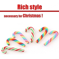 5pcs Christmas Decoration Soft Clay Frosted Shell Phone Diy Scrapbook Ornament Cute Candy Cane Craft