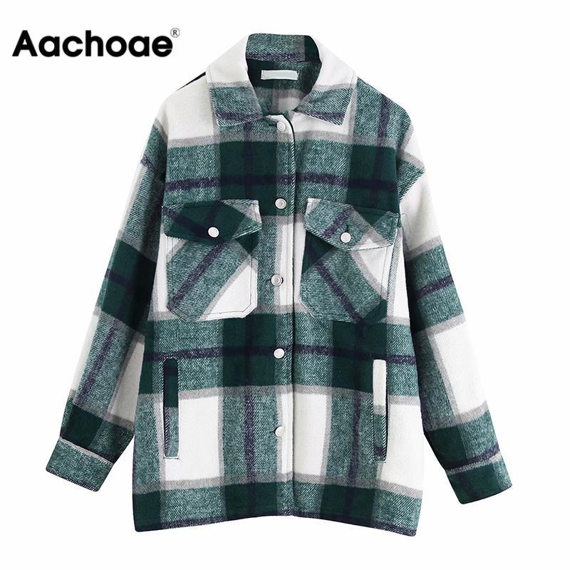 Aachoae Women Plaid Jackets Coat Elegant Ladies Turn Down Collar Wool Blend Coats Long Sleeve Spring  Jackets Female Outwear