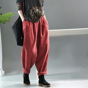 Image 3 - Women Pants Autumn Winter Large size Corduroy Loose Trousers 2019 New Elastic Waist pocket Casual Ladies Fashion Pants