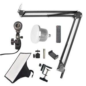 Image 5 - Светодиодный светильник, заполняющая лампа, софтбокс с отражателем, Настольная подвеска, кронштейн для телефона, видеосъемка в реальном времени, стол для фотостудии
