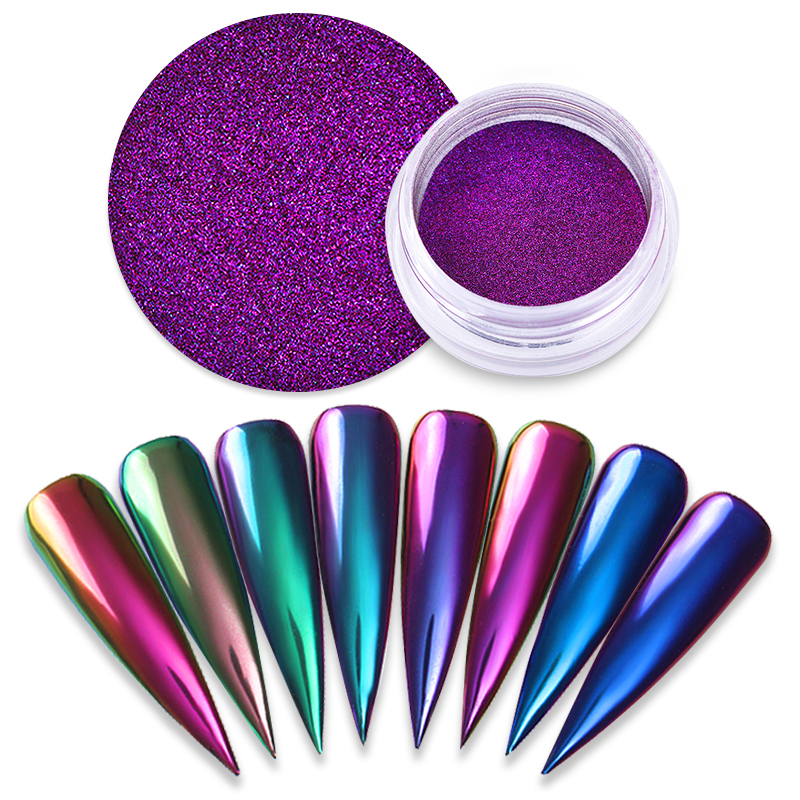 1 Box Chameleon Mirror błyszczący puder do paznokci kolorowy efekt Auroras paznokci chromowane artystyczne dekoracje pigmentowe 8 kolorów dostępne