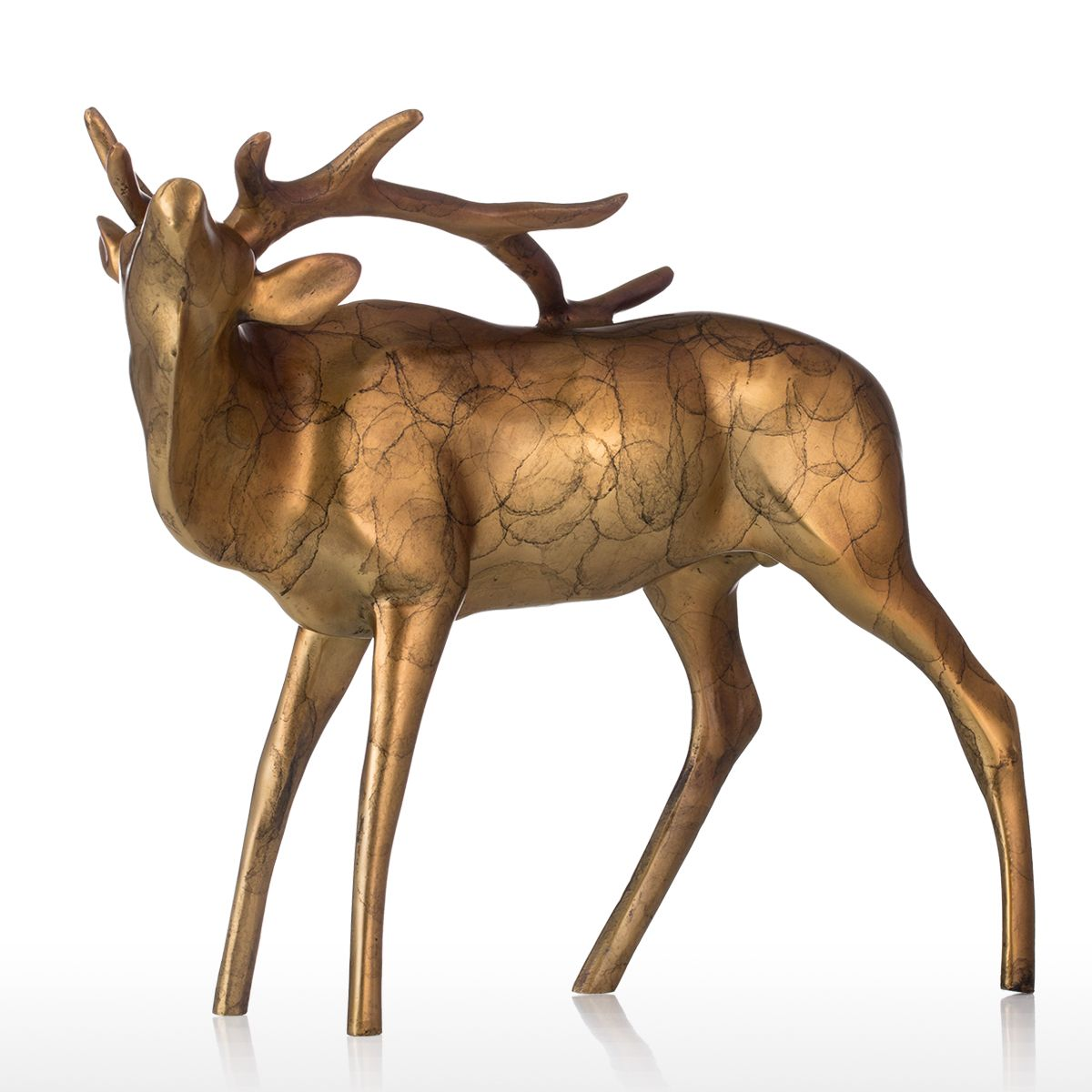 Or cuivre Buck Bronze Sculpture apparence brillante Animal Buck table pour ornements de maison