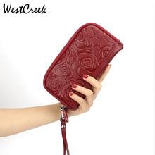 WESTCREEK Brand Women Floral Print Phone Clutch Bag Fashion Genuine Leather Wristband Purses Female Coin Money Bag