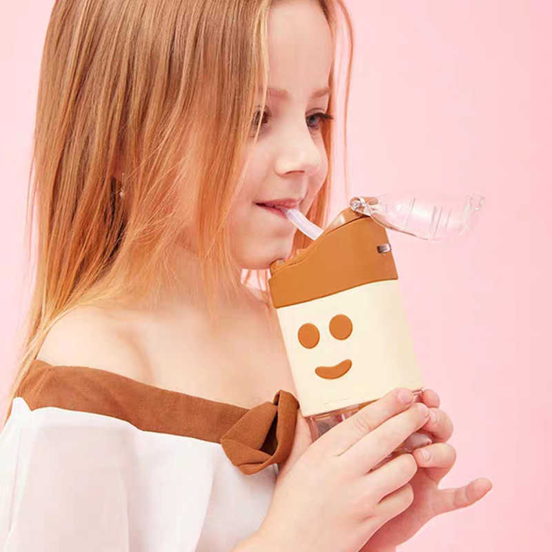 جديد الصيف لطيف دونات الآيس كريم زجاجة ماء مع القش الإبداعية مربع البطيخ كوب المحمولة مانعة للتسرب زجاجة تريتان BPA الحرة