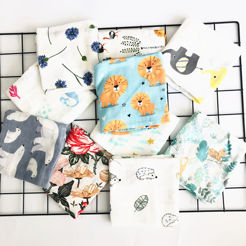 60*60cm Baby Blankets Newborn Soft 70% Bamboo Baby Blanket Muslin Swaddle Wrap Feeding Burp Cloth Towel Scarf Baby Stuff Diaper