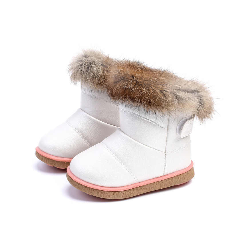 Furry Boots Fluffy Leather Shoes Kids
