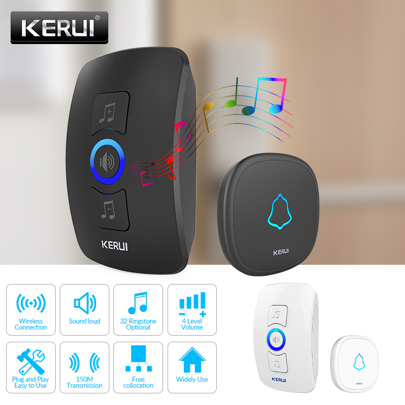 KERUI M525 Wireless Doorbell Kit Home Security Long Distance Welcome High Volume White Black Doorbell With F52 Waterproof Button
