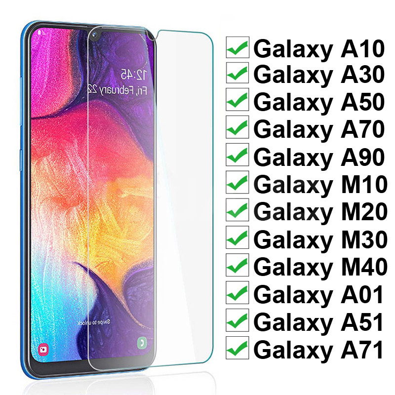 9H Tempered Glass For Samsung Galaxy A10 A30 A50 A70 A90 Screen Protector Samsung A01 A51 A71 M10 M20 M30 M40 Protective Glass
