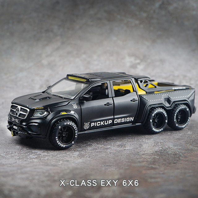 Simulation Alloy Car Modle XCLASS EXY 6X6 Pickup 1/28 Metal Toy Car Sound Light Pull Back Model Toys For Boys Light Toys 1