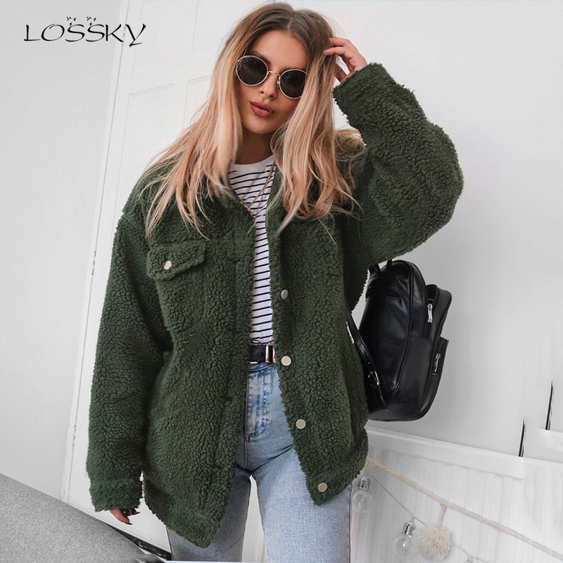 Lossky Jacket Women Fashion Long Sleeve Autumn Winter Flannel Plush Coats Female Outerwear Casual Thick Top Ladies Warm Clothing