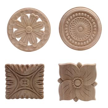 Drewno aplikacja Onlay drewno naklejka drewno figurki guma drewno meble drzwi ściany narożnik dom rzeźbiony wystrój niepomalowany antyczny nowy tanie i dobre opinie NoEnName_Null Europa Flower Drewna