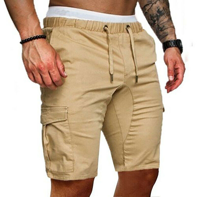 Mens Casual Camo Shorts Combat Short Pants Military Army Cargo Work Trousers High Waist Elastic Waist Pocket Knee Length Shorts