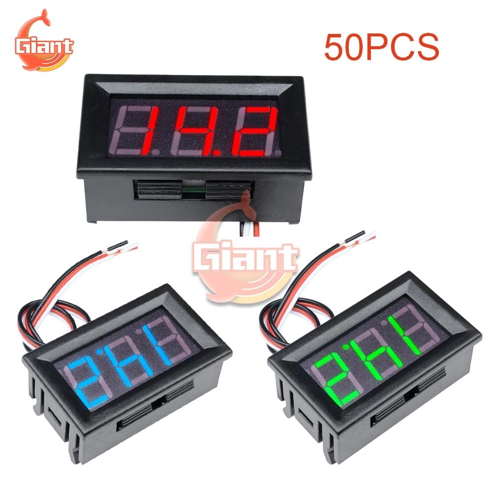 Цифровой вольтметр, вольтметр, 50 шт./лот, 0,56 дюйма, 0-30 в, красный, синий, зеленый, 0,56 дюйма, со светодиодной панелью, 3 провода