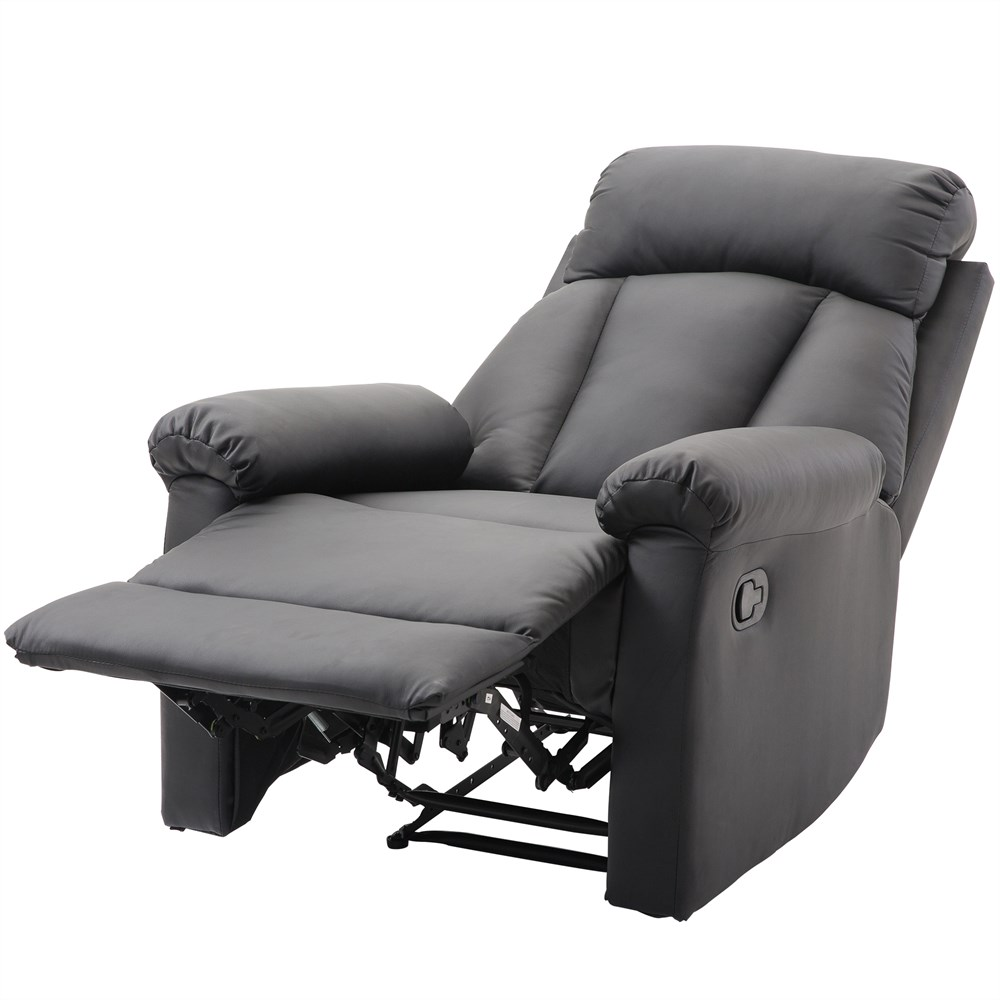 HOMCOM Padded Ergonomic Chair Relax Recliner With Ottoman Faux Leather 80 × 97 × 107cm Black