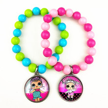 24pcs New styles  Cartoon doll colorful beads glass bracelets necklace keychain ring Earrings Jewelry series for girls