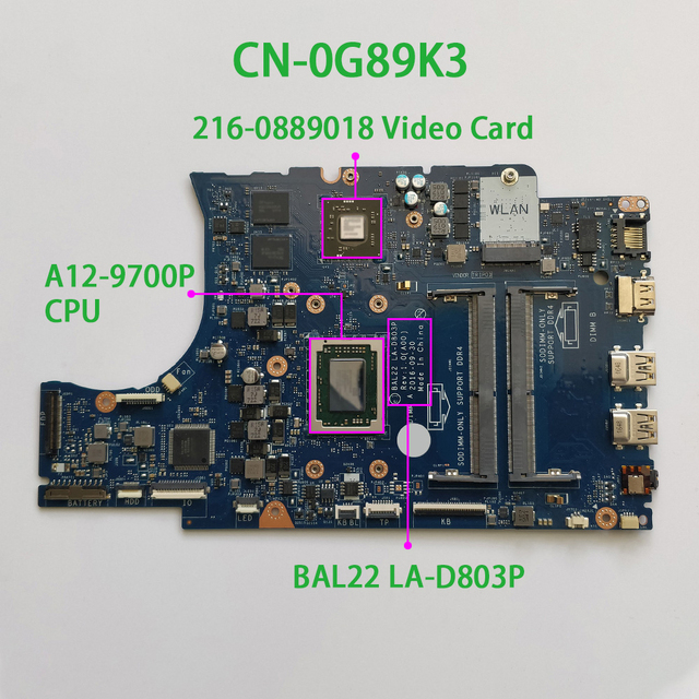 for Dell Inspiron 15.6 5565 G89K3 0G89K3 CN 0G89K3 A12 9700P CPU BAL22 LA D803P DDR4 Motherboard Mainboard System Board Tested