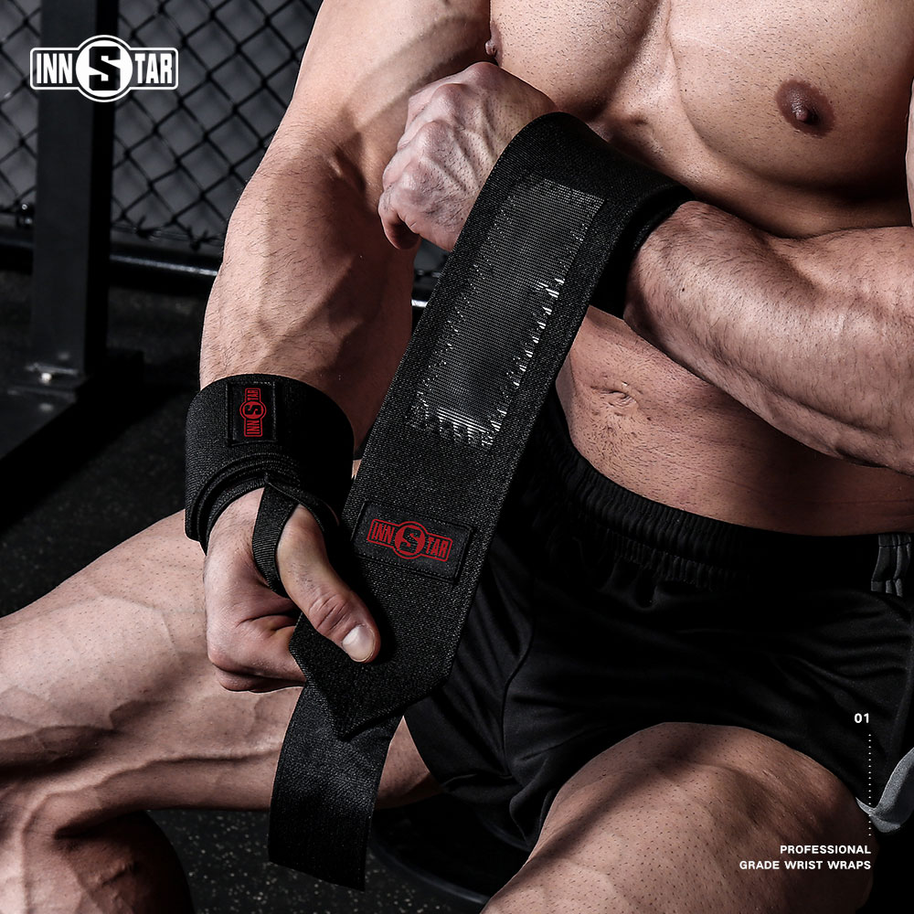 INNSTAR Pro Grade Wrist Wraps for Weightlifting Power Lifting Gym Strength Training Wrist Support Braces for Men with Carry Bag