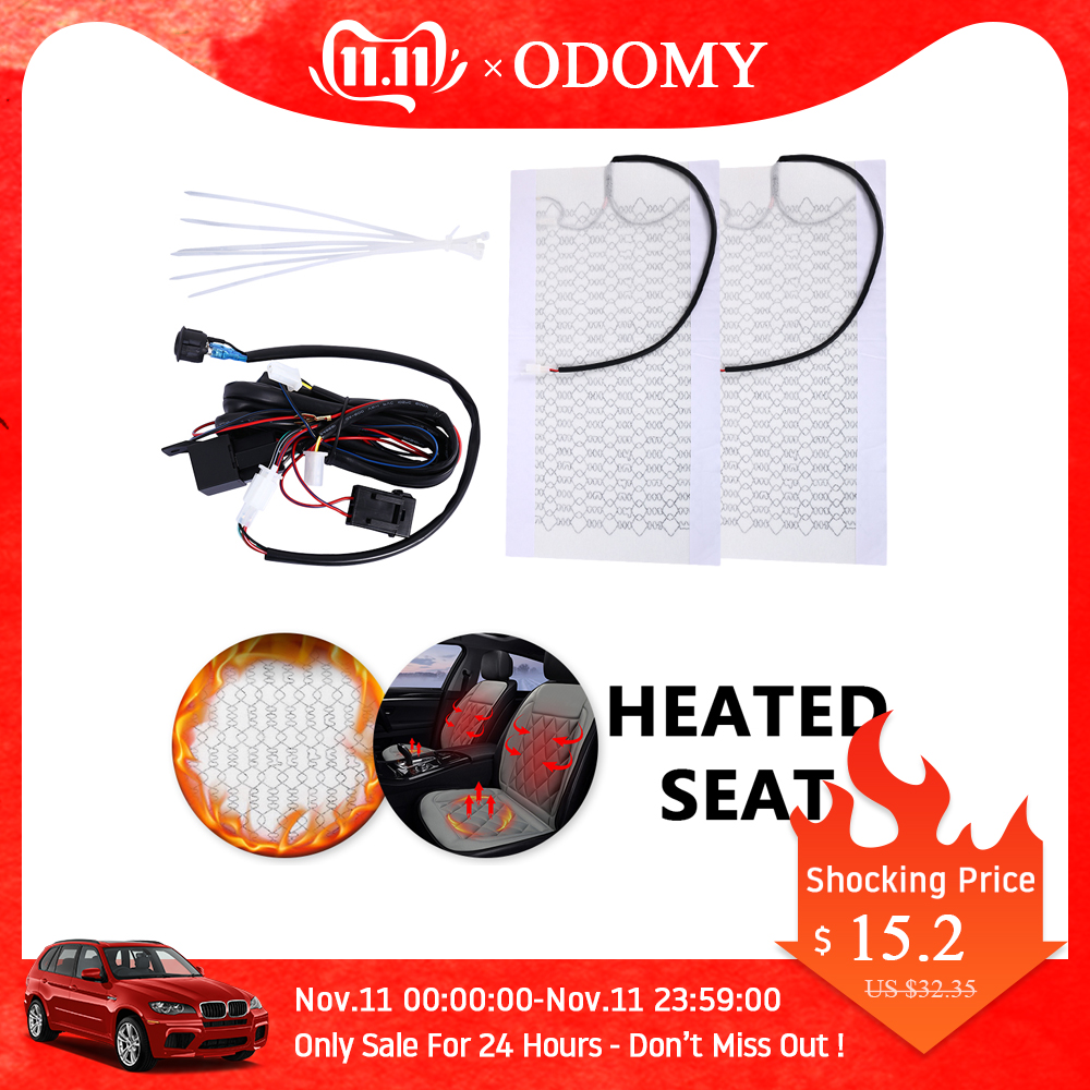 2 Pads/Set Universal Car Carbon Fiber Heated Seat Heater 12V Pads Switch For Winter Warmer Heating Seat Covers