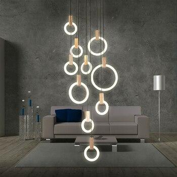 Modern Led Circle Large Chandelier Living Room Art Deco Restaurant Hanging Lighting For Hotel Lobby Office Rings Lamp Lustre