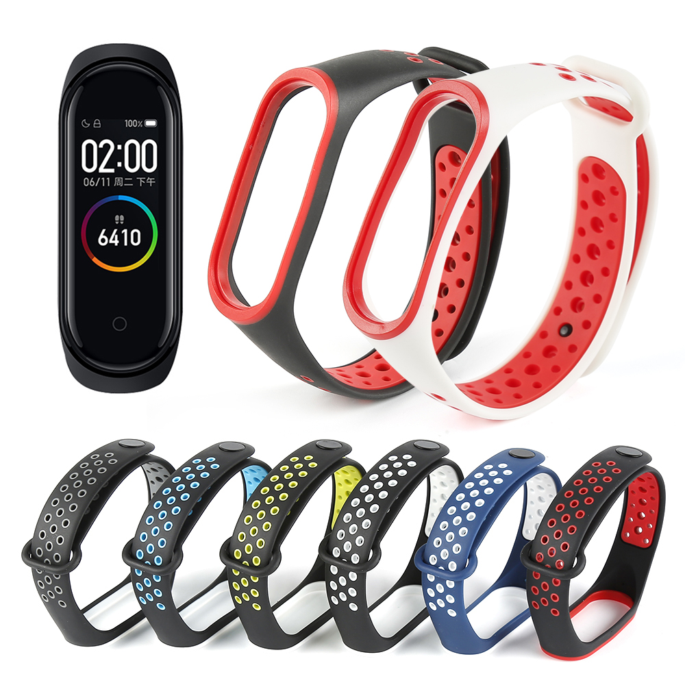 Silicone Strap For Xiaomi Mi Band 4 Colorful Straps For Bracelet 4 Wristband Sports Wristband Porou Breathable Replacement Strap