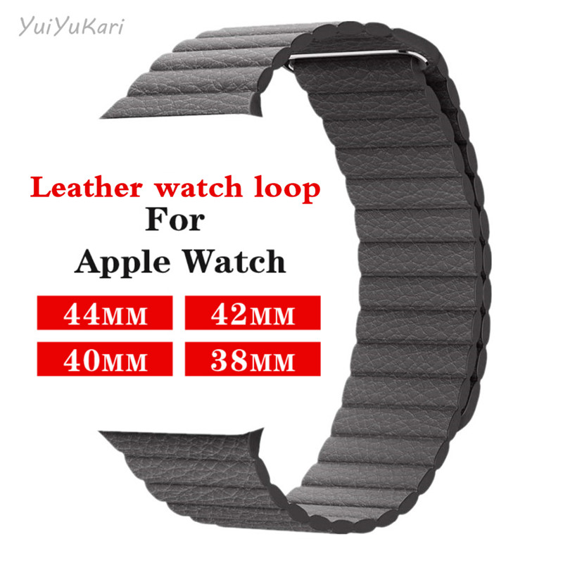 YuiYuKari Strap For Apple Watch Band 42mm 38mm IWatch 5 4 3 2 1 Mdnen Closure Loop Genuine Leather Link Bracelet Magnetic Buckle