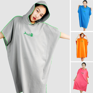 Beach Changing Towel Quick-Dry Surf Poncho Robe with Hooded Wetsuit Surfing Swimming Towel Robe for Unisex Women Men