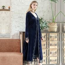 Gold Velvet Pajamas Women Autumn Winter Warm Set Sexy Lace Sleepwear Sleeveless Strap Nightwear Robe 2-piece