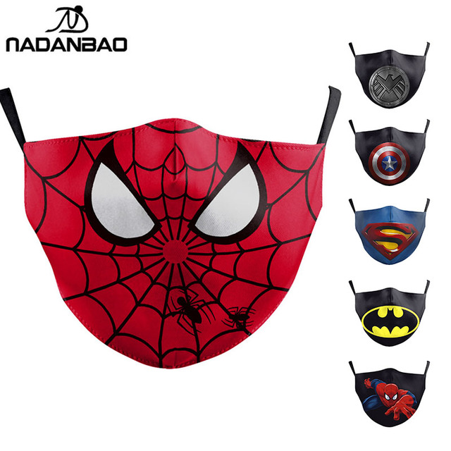 Cartoon Cute Superhero Spiderman Superman Captain America Kids Mask Print Face Kids Masks Reusable Children Mask Fabric Masks