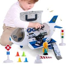 2020 Music Simulation Track Inertia Children's Toys Aircraft Storage Passenger Plane Police Engineering Vehicles Cars Baby Toys