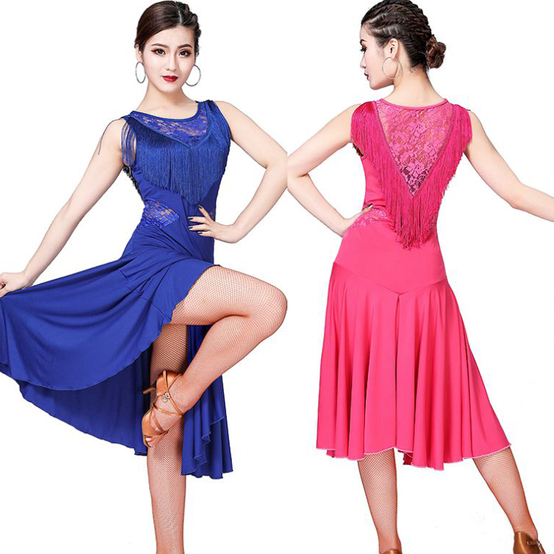 B Women Sexy V-Neck Solid Color Sleeveless Wire Free Lace Neckline Tassels Latin Rumba Dance Dress Performance Exercise Clothes