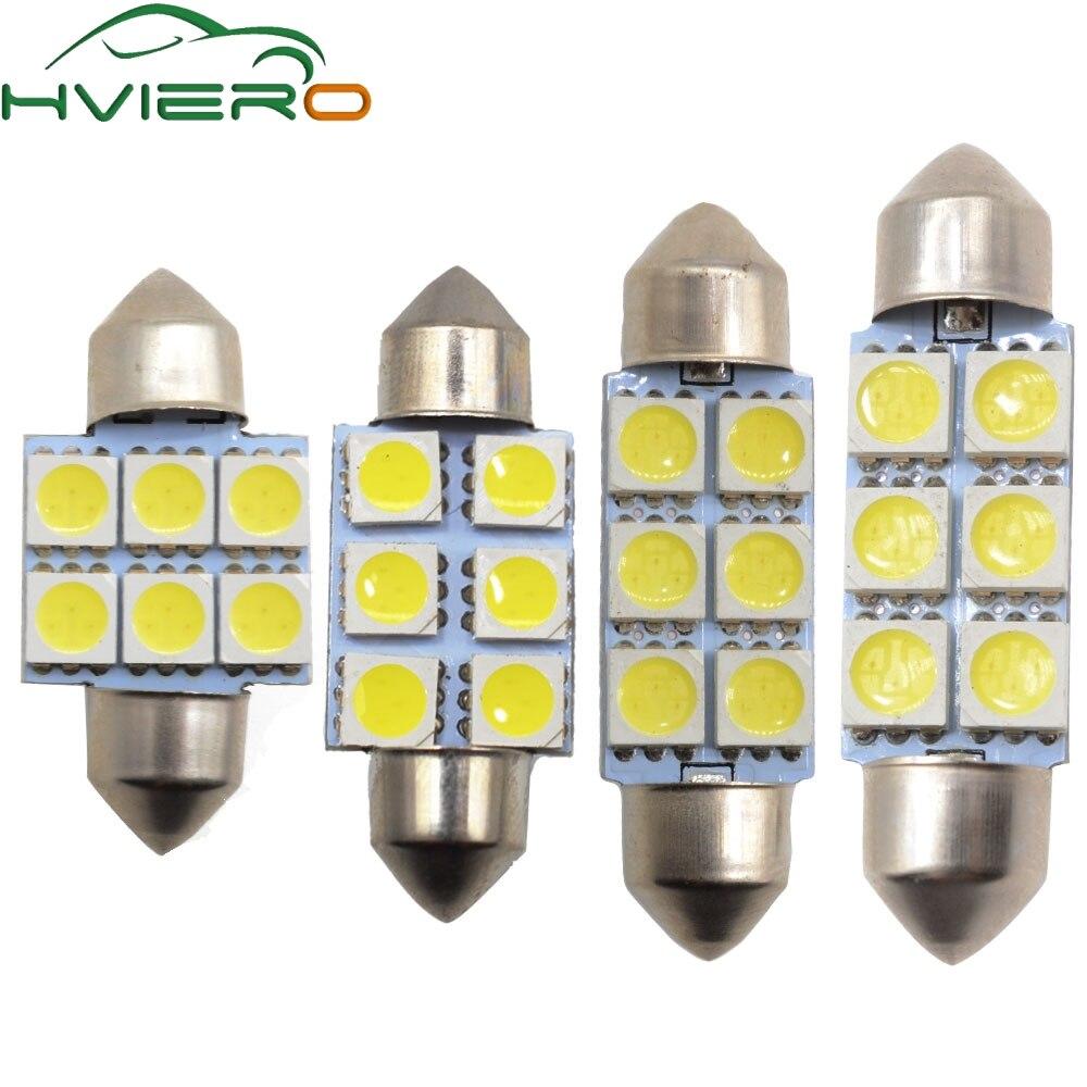 10X White Led 31mm 36mm 39mm 41mm C5w C10w 5050 6Led DC 12v Interior Festoon Dome Light Luggage Lamp Reading Bulb Door Light