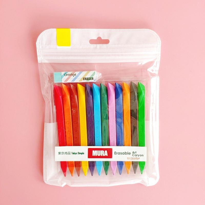 12 Color Kid Drawing Set Erasable Mini Crayon Triangle Painting Pastel Pencil Art Supplies For Kids School E6654