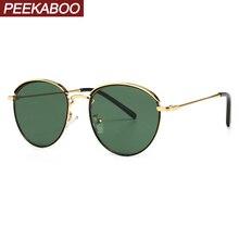 Peekaboo ريترو النظارات الشمسية المستديرة الرجال الإطار المعدني 2020 الصيف موضة النساء نظارات شمسية أخضر أسود uv400 انخفاض الشحن