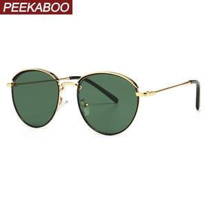 Image 1 - Peekaboo lunettes de soleil rondes rétro pour hommes et femmes, monture métallique, monture estivale, vert, noir, uv400 2020