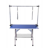 Stable Foldable Stainless Steel Pet Grooming Table for Small Pet Portable Operating Table Rubber Surface Bath Desk Blue Pink