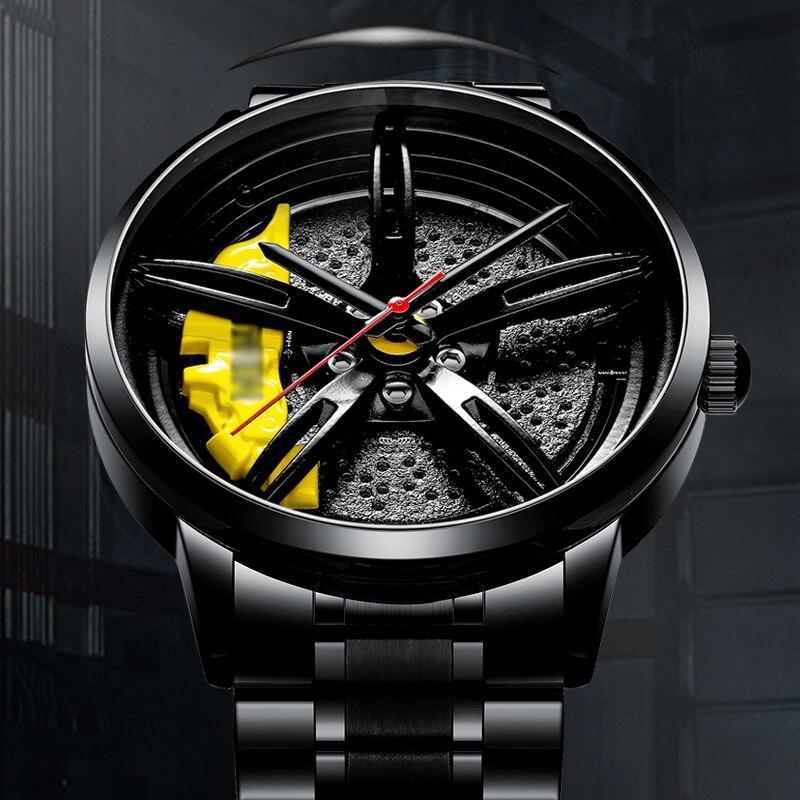 NEKTOM Sports Car Rim Wheel Watch Hub Custom Design Car Rim Sports Wheel Watch Waterproof Creative Male Watches Men's Watches