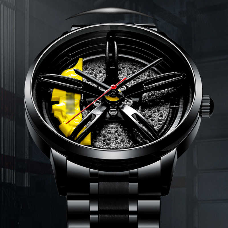 Nektom relógio de aro de carro esportivo masculino, relógio de aro de carro personalizado e criativo à prova d'água para homens relógios