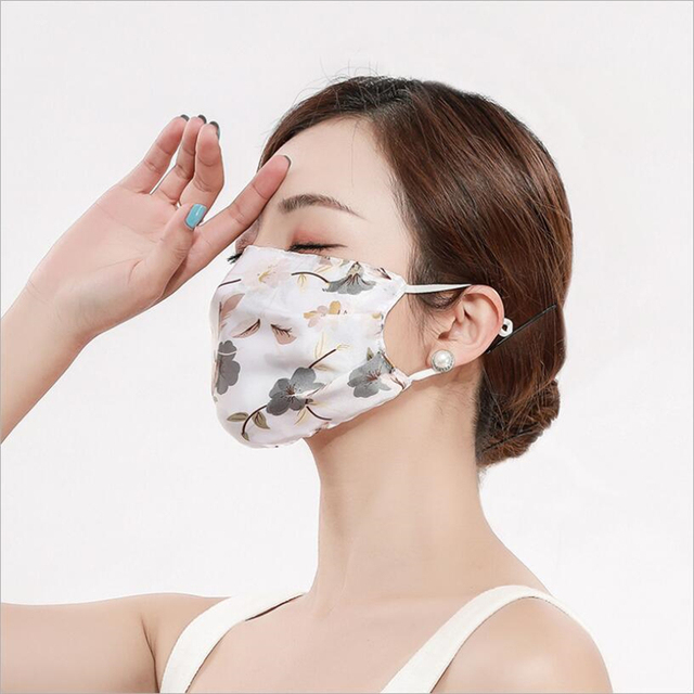 2pcs Fashion Printing Chiffon Mouth Mask Reusable PM2.5 Protective Face Cover Dust Face Mask Bacteria Proof Flu Mouth Muffle 2