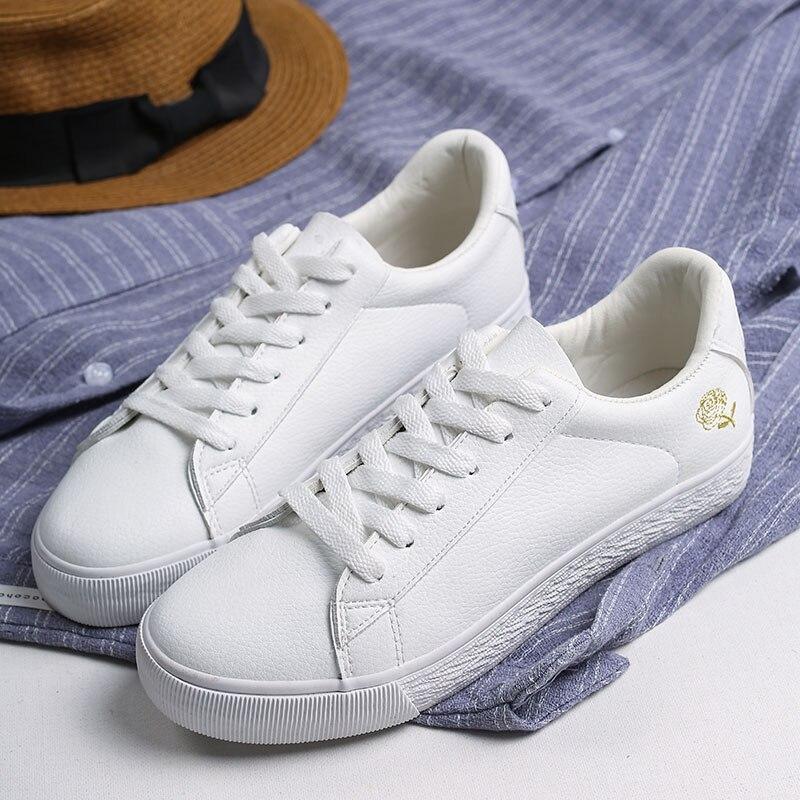GOGC White Shoes Woman Sneakers Flat