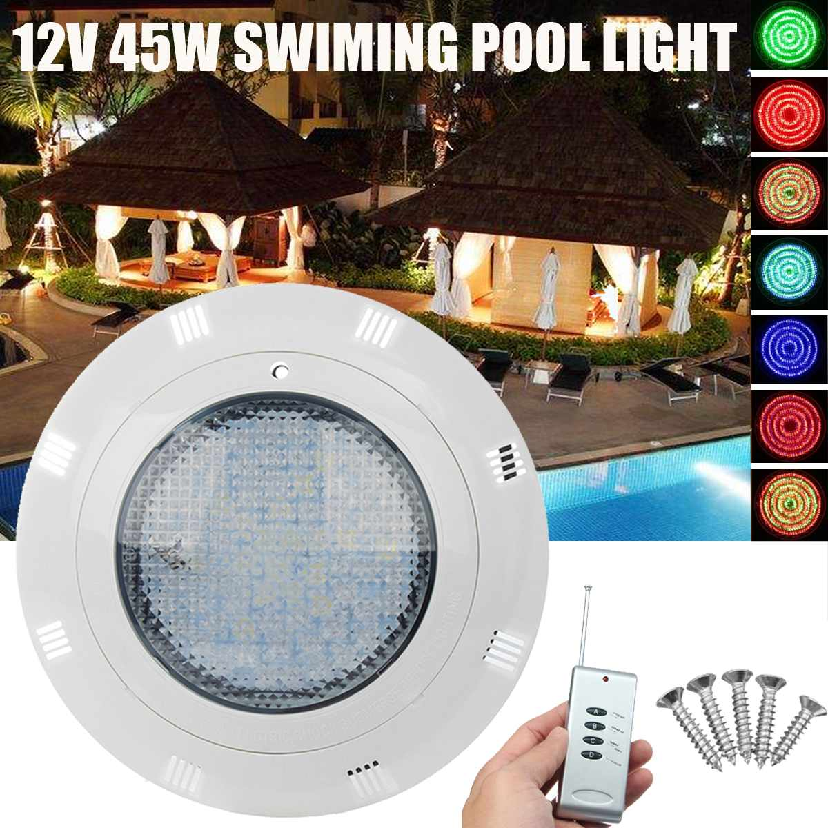 45W AC12V LED RGB Swimming Pool Light with Remote Controller Waterproof IP68 Submersible Light Underwater Night Lamp Outdoor